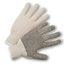PIP Natural String Knit PVC Dotted Glove - Pair of two tan knit safety gloves with dotted rubber coating for high grip.