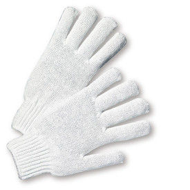 PIP Mid-Weight 7 Cut White String Knit Glove - Pair of two white knit safety work gloves with fabric elastic fit wrists.