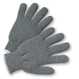 PIP Gray Poly/Cotton Extra Heavy Weight String Knit Work Glove - Pair of two dark gray knit safety work gloves with fabric elastic fit wrists and gray hem.