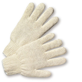 PIP Sting Knit 100% Cotton Work Glove - Pair of two light tan knit safety work gloves with fabric elastic fit wrists and gray hem.