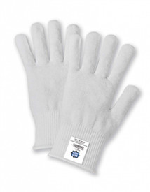 13 Gauge Thermostat Insulated Liner - Two white cloth gloves with elastic cuffs and tag showing on cuff.