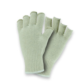 PIP Premium Fingerless 7 Cut Poly/Cotton String Knit Glove - Pair of two fingerless light gray safety knit work gloves with fabric elastic fit wrists.