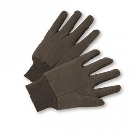 Brown Poly/Cotton Knit Wrist Jersey Gloves - Two brown cloth gloves with elastic cuffs.