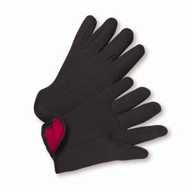 PIP Winter Brown Cotton Fleeced Lined Knit Wrist Jersey Gloves - Pair of two cotton fleece black safety gloves with red interior.