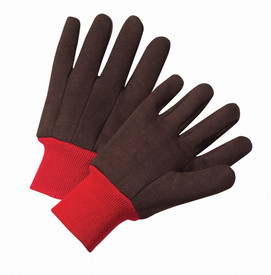 PIP Brown Poly/Cotton Red Knit Wrist Jersey Gloves - Pair of two soft black safety work gloves with dark red long fabric elastic wrists.