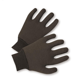 PIP Brown Poly/Cotton Reversible Knit Wrist Jersey Gloves - Pair of two soft black safety work gloves with short black fabric elastic wrists.