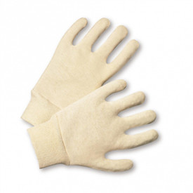 Reversible Natural Jersey Glove Multi Weights - Two off-white soft cotton cloth gloves with elastic cuffs.
