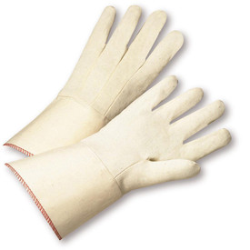 PIP Premium 12 oz 100% Cotton Gauntlet Cuff Glove - Pair of two tan safety work gloves with extra large gauntlet cuff.