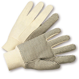 PIP Natural Poly/Cotton Dotted Jersey Glove - Tan and black dotted styled safety high grip work gloves with elastic fabric wrists.