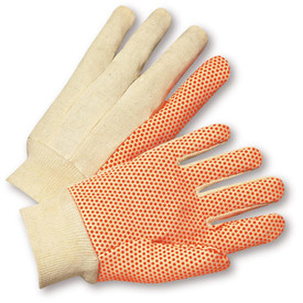 PIP Natural 10 oz Cotton Orange PVC Dotted Glove - Tan and orange dotted styled safety high grip work gloves with elastic fabric wrists.