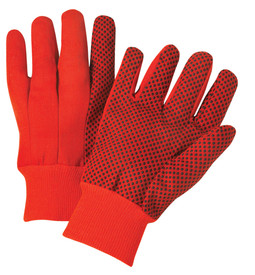 PIP Orange 10 oz Cotton Plastic Dotted Safety Glove - Pair of two red orange and black dotted safety high grip work gloves with fabric elastic wrists.