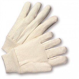 West Chester 10 oz Canvas 100% Cotton Knit Wrist Glove - Two white cotton gloves with elastic cuffs.