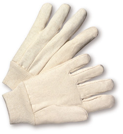 PIP Knit Wrist 100% Cotton Canvas 8 oz Glove - Pair of two light gray reversible safety work gloves with fabric elastic wrists.