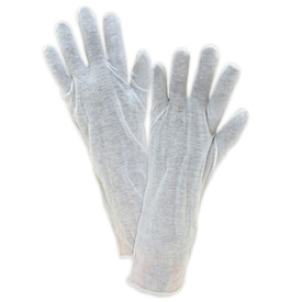 PIP Long 14 Inch 100% Cotton Lisle Gloves - Pair of two easy fit cotton white safety work gloves.