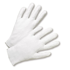 PIP Heavy 100% Cotton Lisle Gloves - Pair of two easy fit light gray cotton safety work gloves.