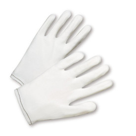 PIP Form Fit Nylon White Gove - White form fit nylon safety work gloves with black threading.