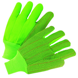 PIP Hi-Viz Green PVC Dotted Corded Double Palm Gloves - Pair of two high visibility green and black dotted high grip safety gloves with fabric elastic wrists.