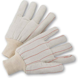 PIP Premium Mid-Weight Knit Wrist Double Palm Gloves - Pair of two white segmented finger safety knit work gloves with red threading and fabric elastic wrists.