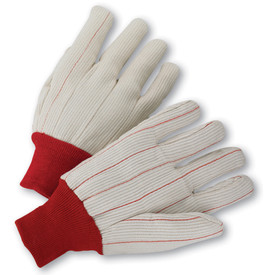 PIP Premium Mid-Weight Red Knit Wrist Double Palm Gloves - Pair of two white segmented finger safety knit work gloves with red threading and red fabric elastic wrists.