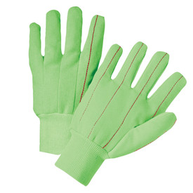 PIP Green Hi-Viz Mid-Weight Knit Wrist Fully Corded Gloves - Pair of two green segmented finger safety knit work gloves with red threading and green fabric elastic wrists.