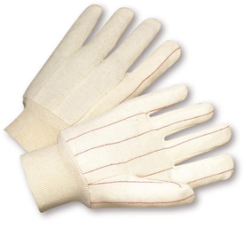 PIP Cotton Medium Weight Lined Canvas Glove - Pair of two white cotton safety work gloves with red threading and fabric elastic wrists.