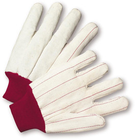 PIP Natural Red Knit Wrist Premium Mid Weight 100% Cotton Glove - Pair of two white segmented finger work gloves with magenta threading and fabric elastic wrists.