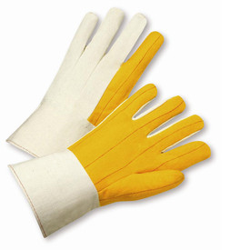 PIP Yellow Mid-Weight Canvas Back Chore Palm Gauntlet Gloves - Pair of two yellow and white segmented finger safety work gloves with long white wrist cuffs.