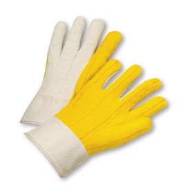 PIP Yellow Band Cuff Mid Weight Chore Gloves - Pair of two bright yellow and white safety work gloves with red threading and long wrist cuff.