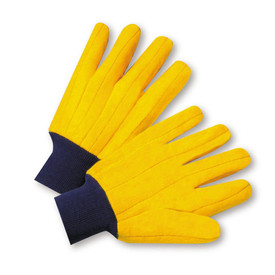 PIP Yellow Knit Wrist Full Chore Gloves - Pair of two bright yellow segmented finger safety work gloves with blue fabric elastic wrists.