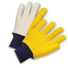PIP Yellow Mid-Weight Canvas Back Chore Palm Gloves - Pair of two yellow and white segmented finger safety work gloves with navy blue fabric elastic wrists.