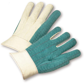 PIP Cotton Green Hot Mill Glove - Pair of two green and white safety work gloves with knuckle covers and short wrist guard.