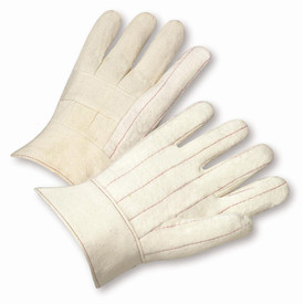 PIP Heat Resistant Cotton Hot Mill Band top Mid-Weight Glove - Pair of two white and tan safety work gloves with knuckle covers and short wrist cuff.