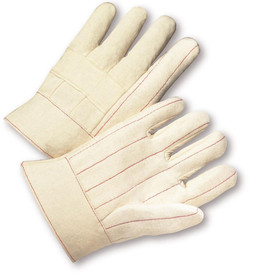 PIP Heat Resistant Cotton Hot Mill Extra Heavy-Weight Glove - Pair of two white and tan safety work gloves with red threading and short wrist cuff.