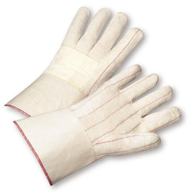 PIP Heat Resistant 28 oz Cotton Hot Mill Gauntlet Glove - Pair of two tan and white safety work gloves with red threading and long wrist cuff.