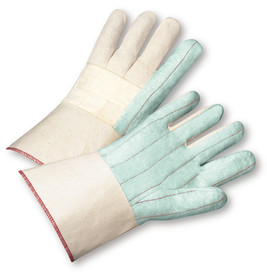 PIP Premium PE Laminated Gauntlet Cuff Cotton Hot Mill Glove - Pair of two light blue and white safety work gloves with red threading and long wrist cuff.