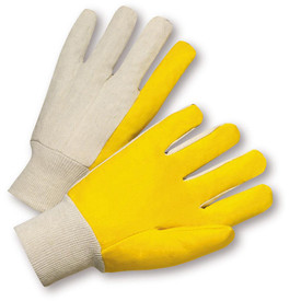 West Chester Light Duty Vinyl Palm Knit Wrist Work Glove - Pair of two white and yellow safety work gloves with elastic fit fabric wrist.