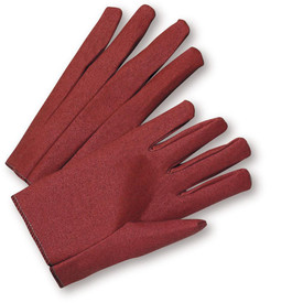 PIP Men's Light Duty Russet Slip On Work Glove - Pair of two red segmented finger safety work gloves with red hem and loose wrist.