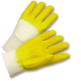 PIP Knit Wrist Heavy Latex Palm Coated Glove - Pair of two blue and white coated safety work gloves with fabric elastic fit wrists.