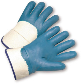 PIP Jersey Lined HeavyWeight Nitrile Coated Safety Glove - Pair of two blue and white coated safety work gloves with purple hem and white wrist guards.