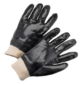 PIP Fully Coated Black PVC Chemical Resistant Work Glove - Pair of two black coated safety work gloves with elastic fit gray wrist.