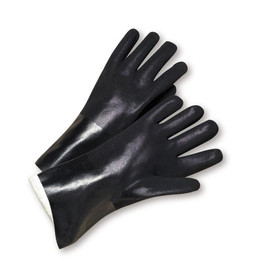 PIP Black Rough Jersey PVC 10 Inch Chemical Glove - Black rough coated safety work gloves with long black wrist guards.