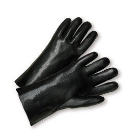 PIP Black 12 Inch Gauntlet PVC Coated Jersey Lined Glove - Pair of two black smooth grip coated safety work gloves with black wrist guards.