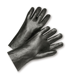 PIP Black 12 Inch PVC Coated Interlock Lined Grip Glove - Pair of two black coated safety work gloves with writ guards.