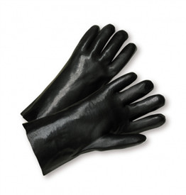 Black 14 Inch PVC Coated Interlock Lined Grip Glove - Two shiny black gloves.