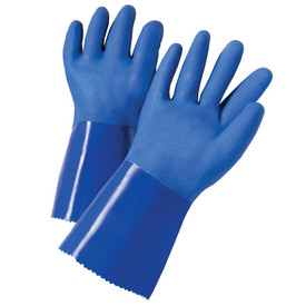 PIP Blue PVC Coated Triple Dipped Interlock PVC Glove - Pair of two blue coated safety work gloves with smooth blue wrist guards.