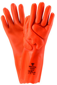PIP Air Infused Foam 14 Inch PVC Coated Glove - Orange coated safety work gloves with foam padding and wrist sleeve.