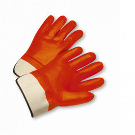 PIP PVC Coated Orange Rubberized Cuff Safety Glove - Bright orange coated gloves with white wrist and black accent line on cuff.