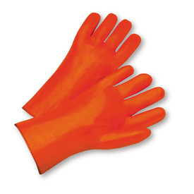 PIP Orange 12 Inch Gauntlet PVC Coated Foam Lined Glove - Pair of two orange rough grip coated safety work gloves with orange wrist guards.