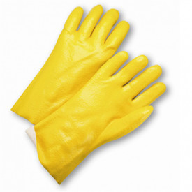 PIP Yellow Jersey Lined 12 Inch Semi-Rough Finish PVC Coated Glove - Shiny yellow coated glove with texture on entire hand surface, with white cloth interior.