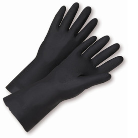 PIP Black Unsupported Neoprene Flock Lined Gloves - Pair of two full solid black safety work gloves with long black wrist coverage.